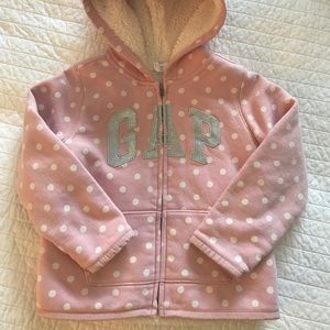 GAP Girls 5 Hoodie - Sparkly & Pink Dot EUC